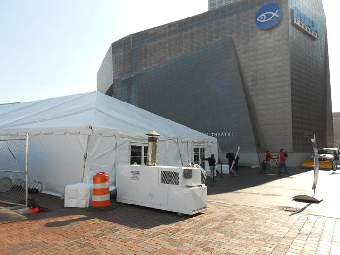 Temporarily heating the waiting tents at the New England Aquarium for school vacations in the winter months. An IDF-2T is used for this application. & Past Projects   BABFAR Temporary Heating Equipment in Massachusetts